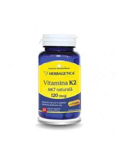 VITAMINA K2 30cps Herbagetica Asigură asimilarea completă și fixarea corectă a Calciului în oase. Protejează pereții vaselor s