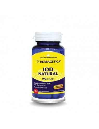 IOD NATURAL 30cps Herbagetica Reglează tiroida și accelerează metabolismul. 500 mcg Iod Natural per capsulă. Formă superioară n