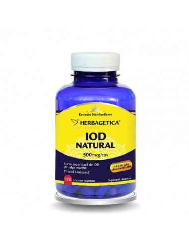 IOD NATURAL 120cps Herbagetica Reglează tiroida și accelerează metabolismul. 500 mcg Iod Natural per capsulă. Formă superioară