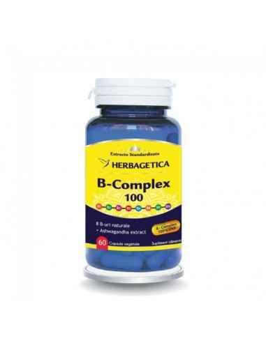 B-complex 100 60 cps Herbagetica Favorizează asimilarea calciului şi vitaminizarea organismului cu vitaminele B (B1, B2, B3, B5