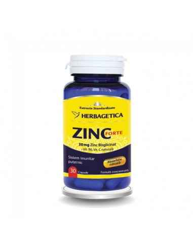 ZINC FORTE 30 cps Herbagetica Sistem imunitar puternic. 30 mg Zinc bisglicinat/capsulă. Formulă complexă cu Vitamina B6 și Vita