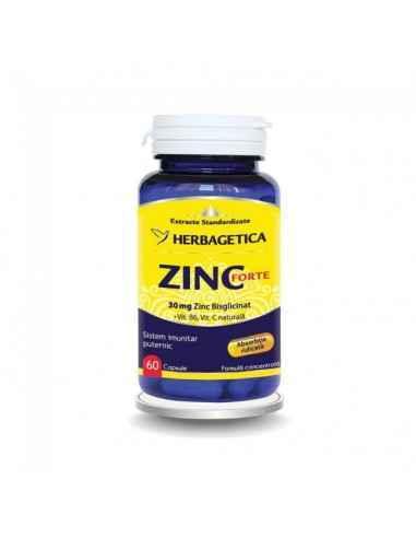 ZINC FORTE 60 cps Herbagetica Sistem imunitar puternic. 30 mg Zinc bisglicinat/capsulă. Formulă complexă cu Vitamina B6 și Vita