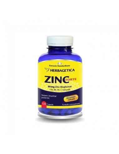 ZINC FORTE 120 cps Herbagetica Sistem imunitar puternic. 30 mg Zinc bisglicinat/capsulă. Formulă complexă cu Vitamina B6 și Vit