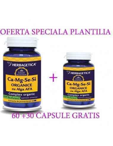 Ca + Mg + Se + Si + Zn cu D3-Complex Forte 60 + 30 capsule Herbagetica Reduce oboseala, menține sănătatea sistemului nervos, sus