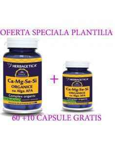 Ca + Mg + Se + Si + Zn cu D3-Complex Forte 60 + 10 capsule Herbagetica