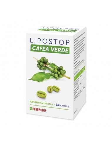Lipostop Cafea Verde 30 capsule Parapharm Este un preparat modern, în care componentele acționează sinergic și ajută la scăderea