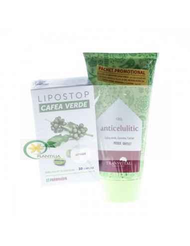 Lipostop Cafea Verde 30 capsule+Gel Anticelulitic cadou Parapharm Este un preparat modern, în care componentele acționează siner