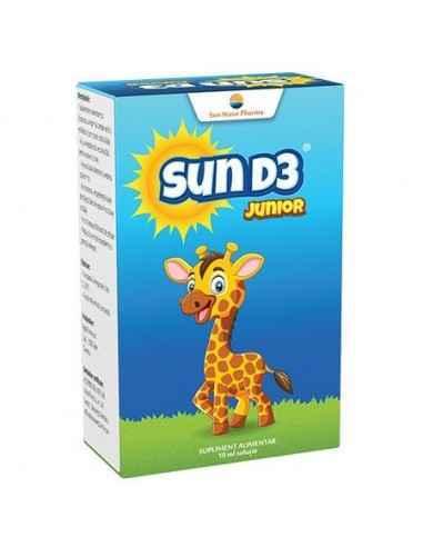 SUN D3 JUNIOR PICATURI 10ML SUNWAVE PHARMA Contribuie la absorbția/utilizarea normală a calciului și fosforului și la menținere