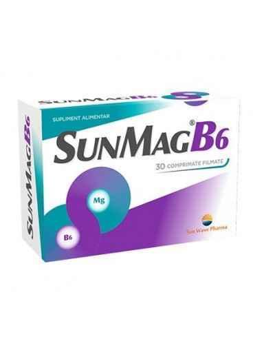 SUNMAG B6 30CPRSUNWAVE PHARMA Ameliorează stările de oboseală, extenuare și iritabilitate