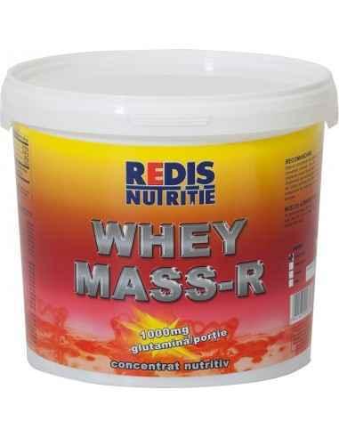 WHEY MASS ciocolata 2 Kg galeata Redis Whey Mass-R este un concentrat de proteine (32%) și carbohidrați (61%), proteinele prove