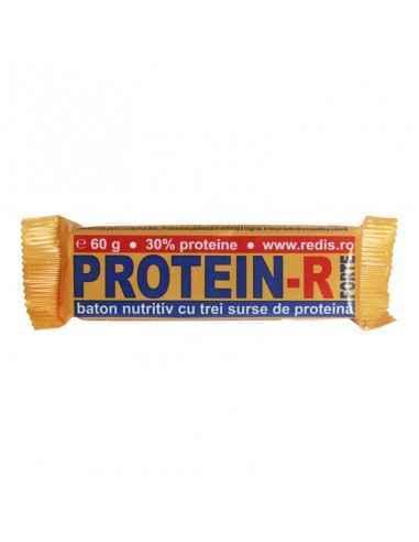 Protein R Forte 60 g Redis Protein-R Forte este este un baton nutritiv bogat în proteine (peste 30%) provenind din 3 surse (la