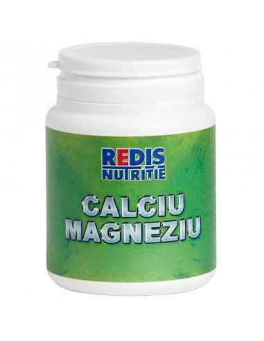 CALCIU MAGNEZIU 120 capsule Redis Impreuna, cele doua minerale, ajuta la mentinerea sanatatii sistemului nervos, muscular si os