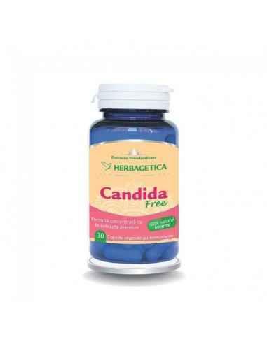 CANDIDA FREE 30 CPS Herbagetica Candida Free este un complex unic cu 16 extracte premium dedicate pentru curățarea organismul d