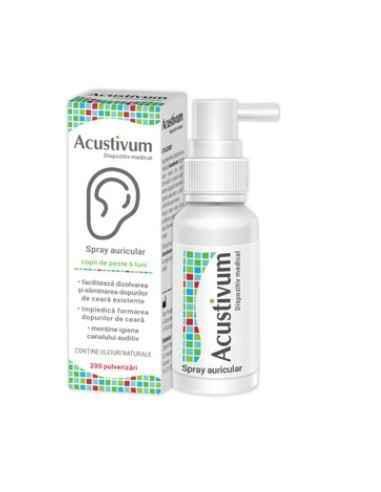 ACUSTIVUM SPRAY AURICULAR 20ML Zdrovit Spray-ul Acustivul este un dispozitiv medical ce faciliteaza dizolvarea si elimina dopur
