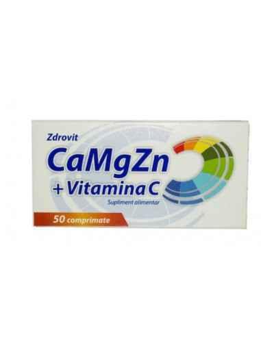 CA+MG+ZN+VIT C 50CPR Zdrovit Calciul si magneziul contribuie la metabolismul energetic normal si la functionarea normala a sist
