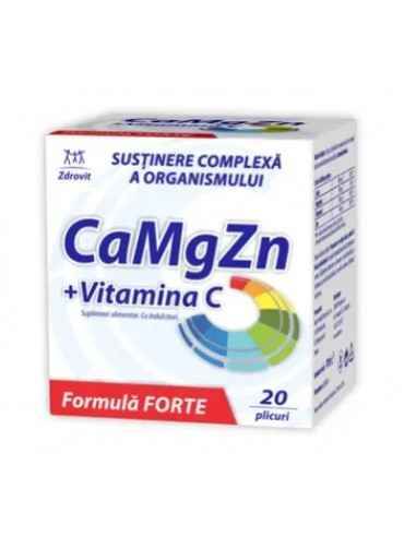 CA+MG+ZN+VIT C FORTE 20DZ Zdrovit Calciul si magneziul contribuie la metabolismul energetic normal si la functionarea normala a