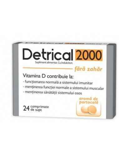 DETRICAL D3 2000UI PORTOCALE FARA ZAHAR 24CPR Zdrovit Vitamina D contribuie la functionarea normala a sistemului imunitar, la m