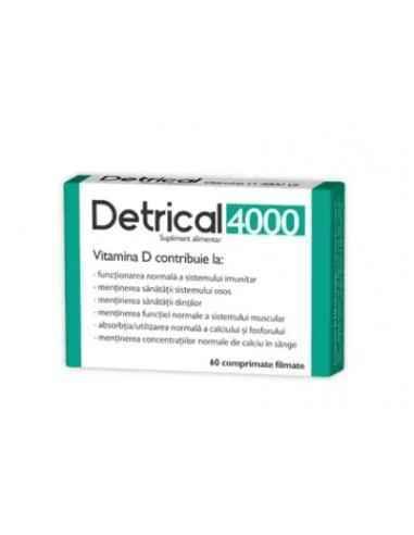 DETRICAL D3 4000IU 60CPR Zdrovit Forma activa a vitaminei D3 are un rol in activarea unui numar mare de procese biologice impor