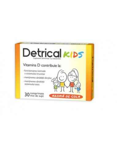 DETRICAL D3 400UI KIDS 30CPR MOI DE SUPT Zdrovit Forma activa a vitaminei D3 are un rol in activarea unui numar mare de procese