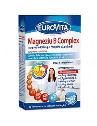 MAGNEZIU B COMPLEX 42CPR EUROVITA, MAGNEZIU B COMPLEX 42CPR EUROVITA Supliment alimentar recomandat in caz de suprasolicitar