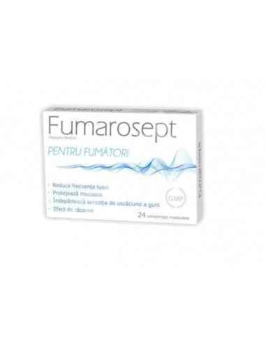 FUMAROSEPT 24CPR MASTICABILE Zdrovit Fumarosept reduce frecventa tusei, protejeaza mucoasa, indeparteaza senzatia de uscaciune