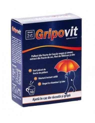GRIPOVIT 10DZ Zdrovit GRIPOVIT Zdrovit intareste organismul afectat de raceli sau carente de vitamina C si zinc.