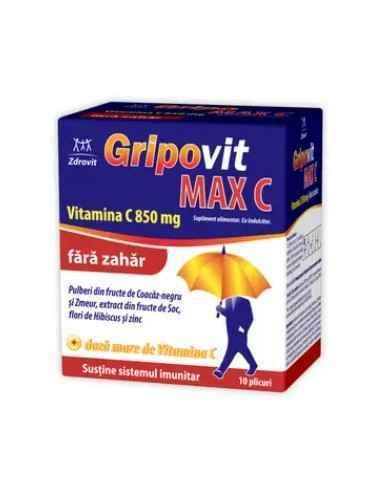 GRIPOVIT MAXC VITAMINA C 850MG F.ZAHAR 10DZ Zdrovit Datorita ingredientelor sale complexe, Gripovit MAX C este recomandat pentr