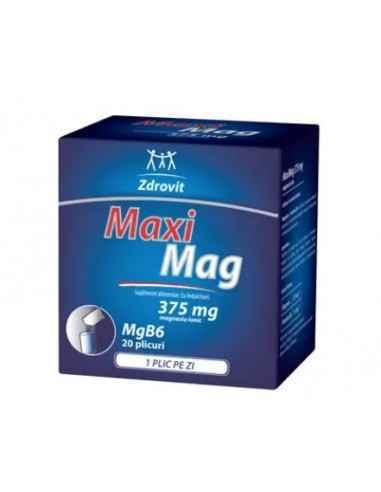 MAXIMAG 20DZ Zdrovit MaxiMag este un supliment alimentar ce contine indulcitori si 375mg magneziu ionic.