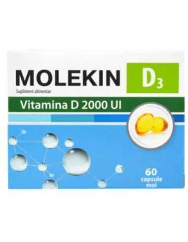 MOLEKIN D3 2000UI 60CPS MOI Zdrovit Vitamina D contribuie la functionarea normala a sistemului imunitar, la mentinerea sanatati