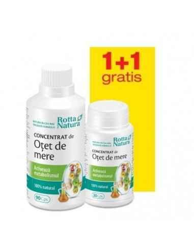 Pachet Concentrat de otet de mere 90 capsule+30 capsule GRATIS Rotta Natura