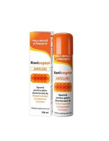 RANISEPTOL ARSURI SPUMA SPRAY 150ML Zdrovit Raniseptol ARSURI spuma, pentru piele deteriorata de factori termici si expunere la