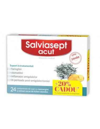 SALVIASEPT ACUT FARA ZAHAR 24CPR-20% GRATIS Zdrovit Salviasept acut fara zahar cu nanoparticule de argint si extract uscat de l