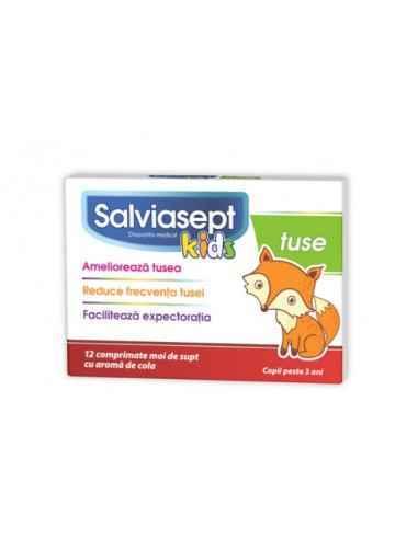 SALVIASEPT KIDS TUSE 12 CPR MOI DE SUPT Zdrovit Salviasept Kids Tuse este un produs care actioneaza prin ameliorarea tusei si f