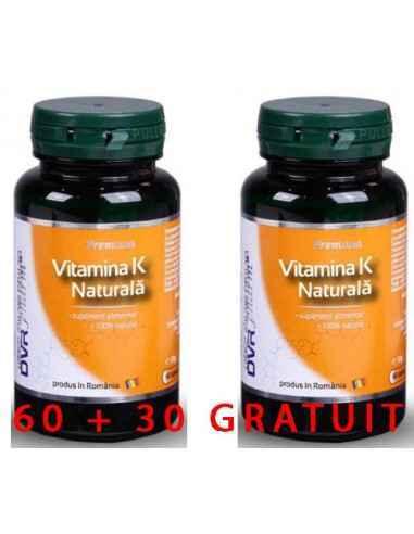 Vitamina K naturala 60 capsule DVR Pharm Vitamina K naturală joacă un rol important în buna funcționare a organismului, fiind l