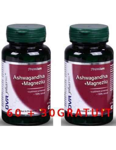 Ashwagandha + Magneziu 60 + 30 cps DVR Pharm Această combinație este destinată susținerii activității sistemului nervos. Magnez