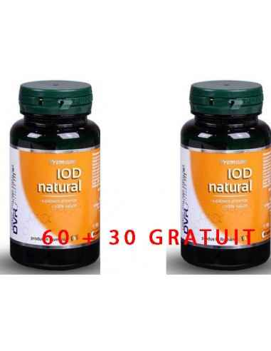 IOD NATURAL 60 + 30 CAPSULE DVR Pharm Iod natural este un oligoelement de o importanță crucială pentru funcționarea sistemului