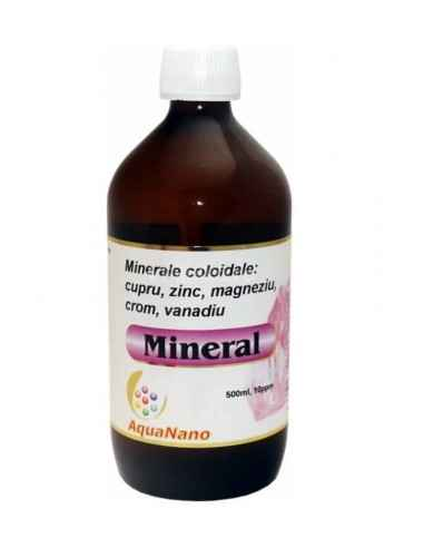 MINERAL AQUANANO(cupru,zinc,magneziu,crom,vanadiu) 10ppm 480ml AGHORAS AquaNano Mineral mix de cupru, zinc, magneziu, crom si v